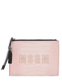 Normal msgm crocodile embossed leather pouch