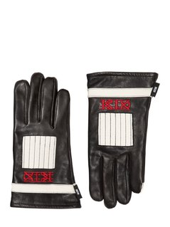 TWO TONE EMBROIDERED LEATHER GLOVES