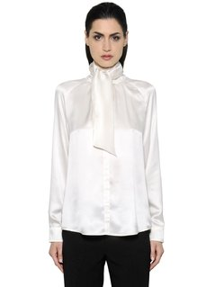 BOW COLLAR WASHED SILK SATIN SHIRT