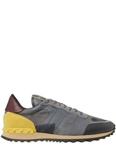 Normal valentino rockstud camo canvas leather sneakers