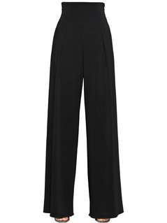 STRETCH VISCOSE TRICOTINE WIDE LEG PANTS