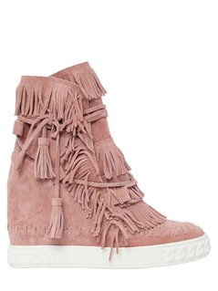 80MM FRINGED SUEDE WEDGE BOOTS