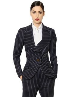 PINSTRIPED COOL WOOL JACKET