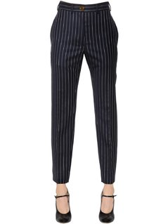 PINSTRIPED COOL WOOL STRAIGHT PANTS