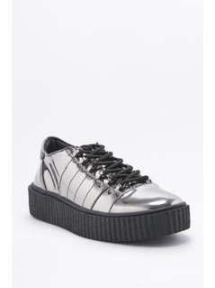 Hollie Silver Mirror Lace-Up Creeper Shoes - Womens UK 8