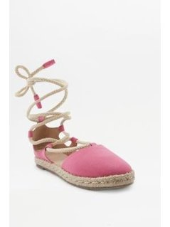 Izzy Pink Lace-Up Espadrille Sandals - Womens UK 5