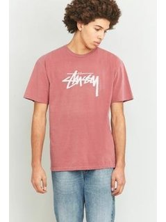 Stussy Stock Pigment Dyed Burgundy T-shirt - Mens L