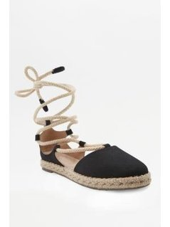 Izzy Black Lace-Up Espadrille Sandals - Womens UK 6