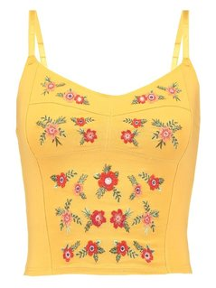 New Look FLORAL Top mustard