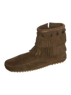 Minnetonka DOUBLE FRINGE Botki dusty brown